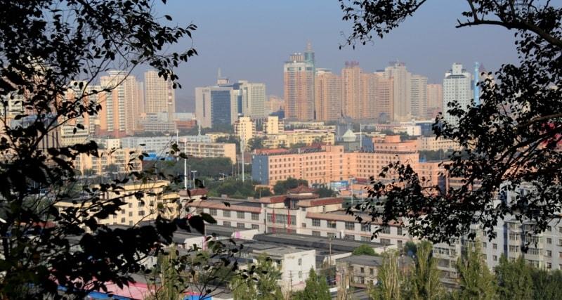 Вид на город с возвышенности на Красной горке.