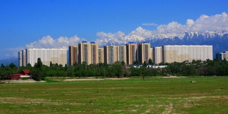 Алматы. Вид с озера Сайран.
