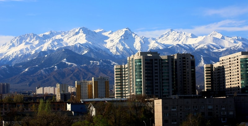 Алматы. Вид с улицы Аносова.