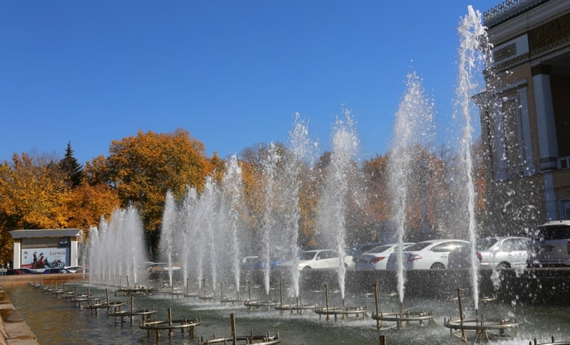 Fountain at the Abay Opera and Ballet Theater.