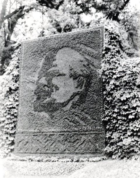 Floral panel of the portrait of V.I. Lenin in the Gorky Park in Alma-Ata. 1980.