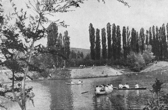 Alma-Ata. Park of culture and rest. Pond in the park. 1940.