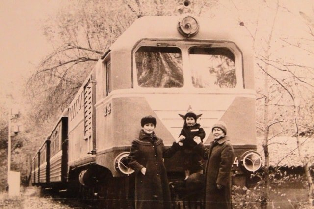 Children's railway in the Gorky Park of Culture and Rest in Almaty. 1986.