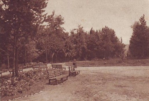 Central entrance to the Park of Culture and Rest. Alma-Ata. 1940.