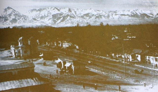 The Panorama of Alma-Ata with a kind on street Lepsinskay, nowadays street Furmanova. 1932.