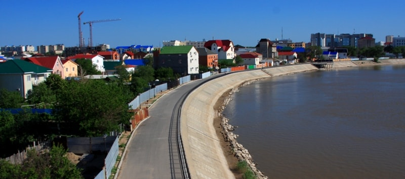 Quay of the river Ural.