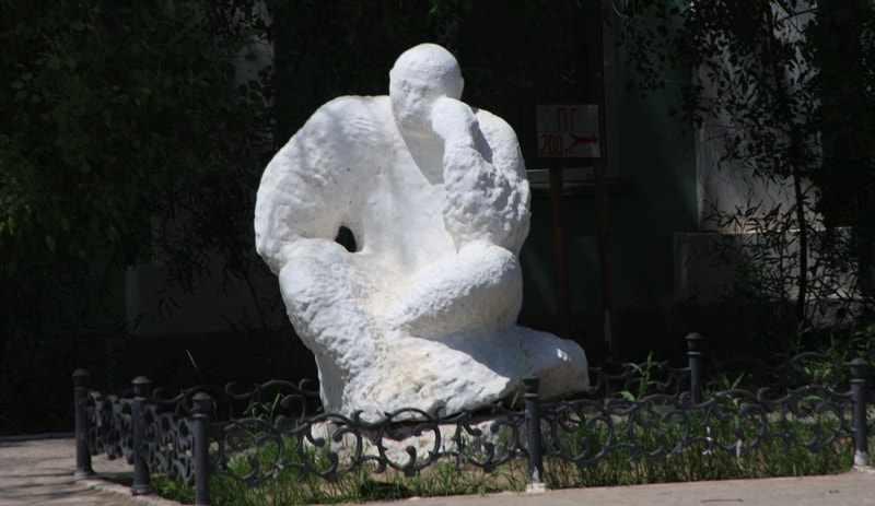 Sculpture at a museum of arts of name Sariev in Atyrau.