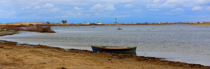 Остатки Аральского моря у аула Старый Каратерен. Апрель, 2013 года.