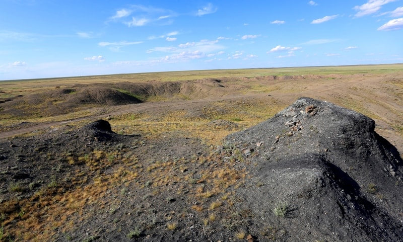 Environs on lake Shagan. Nuclear lake Semipalatinsk nuclear test site.