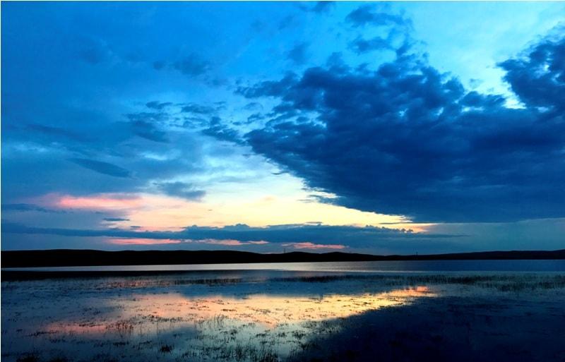 Закат на озере Шаган (Атомное).