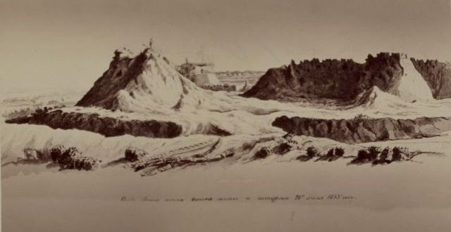 Вид кокандской крепости Ак-Мечети после штурма 28 июля 1853 года.