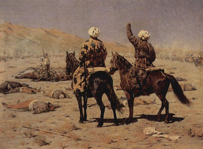 «Парламентеры. Сдавайся! - Убирайся к черту!».  1873 год. Холст, масло. 58 х 74 см. Картина В.В. Верещагина.