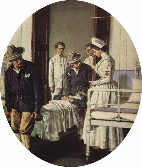 """В госпитале». 1901 год. Картина В.В. Верещагина."
