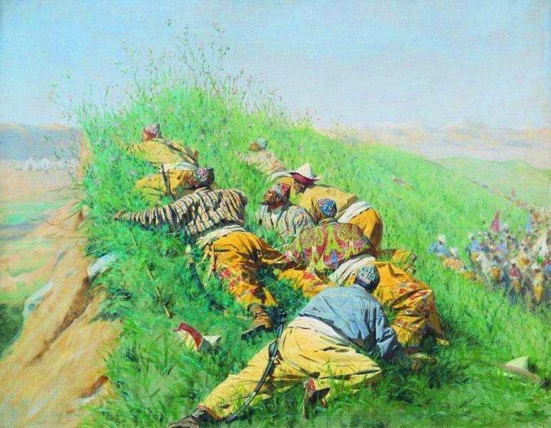 «Высматривают». 1873 год. Картина В.В. Верещагина.
