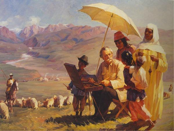 """Картину Хлудова """"На джайляу"""" художник Бортников посвятил своему учителю."""