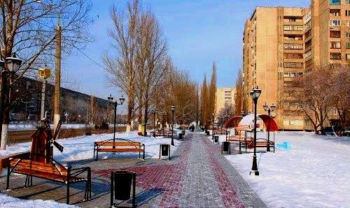 Город зимой.