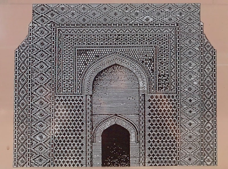 Graphic reconstruction of the face of the mausoleum of Karakhan.