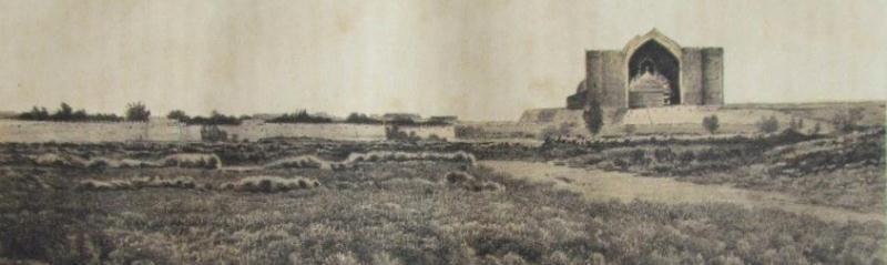 Туркестан с восточной стороны (из книги П.И. Пашино). Мечеть Хазрета Яссави. Туркестан.