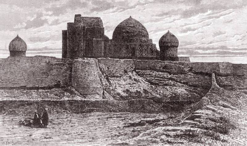 """Hazret Yassavi's mosque. Turkestan. 1870th. A print of an engraving of Laplan from the drawing of Taylor representing Hodge Ahmad Yassavi's mausoleum in Turkestan (the southern Kazakhstan) illustrating N. Stremoukhov article """"In Central Asia. From notes of the Russian traveler"""" in the NIVA magazine (1879, No. 25)."""