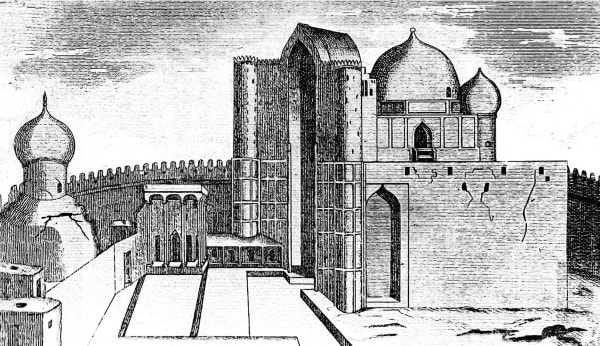 """Hodzhi Ahmed Yasavi mausoleum. The drawing from """"The military collection"""". 1866."""