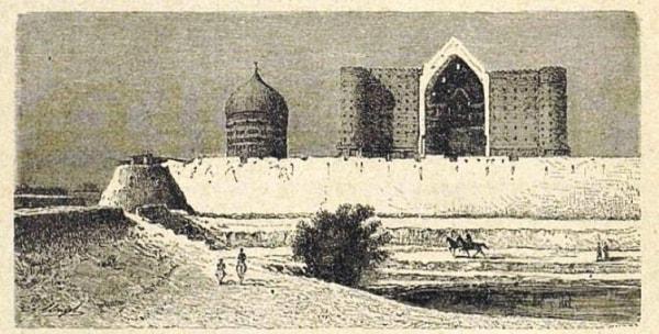 Мечеть Азарет-Султан в Туркестане и часть крепостной стены.