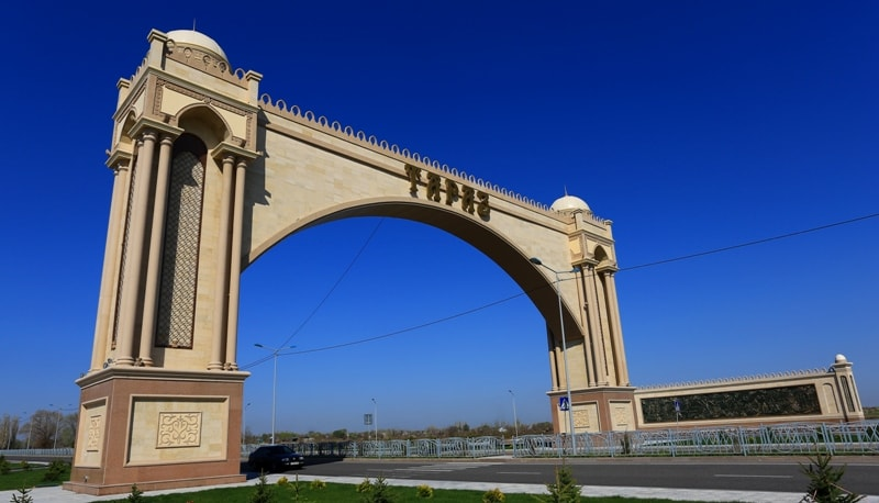 East a gate of the town of Taraz.