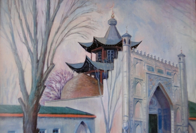 """Picture """"Zharkent a mosque """". The author is unknown."""
