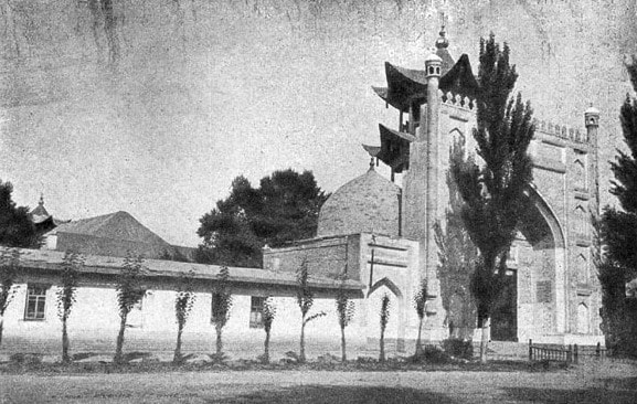 Old photo Zharkent of a mosque.