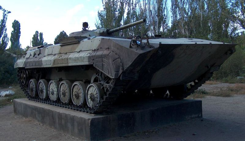 BMP in park. To monuments to soldiers-Afghans.