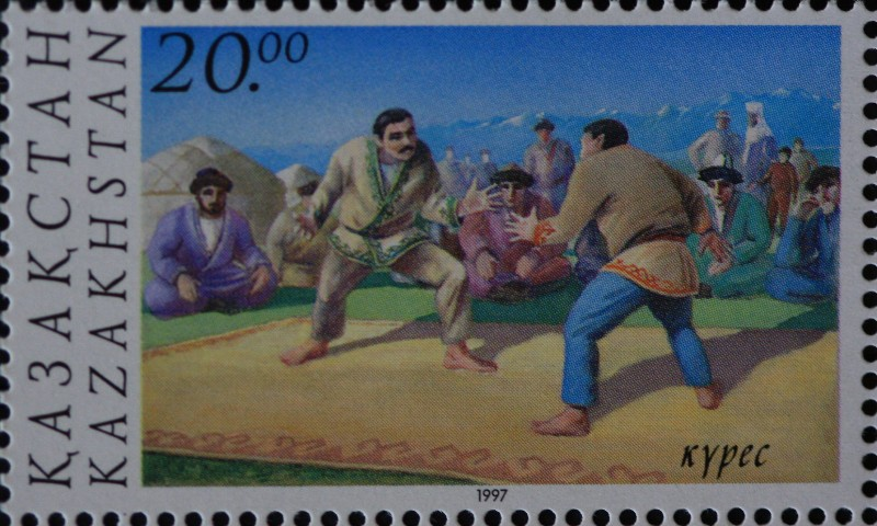 Stamp about kazakhsha kures - the Kazakh national wrestling.