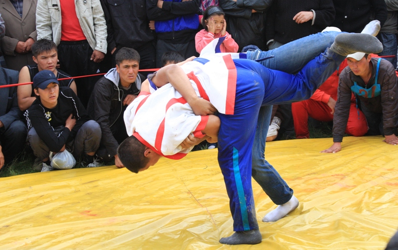 Kazakhsha kures - the Kazakh national wrestling.