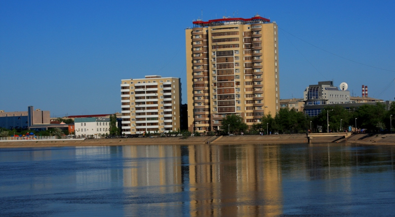 Quay of river Ural in Atyrau.