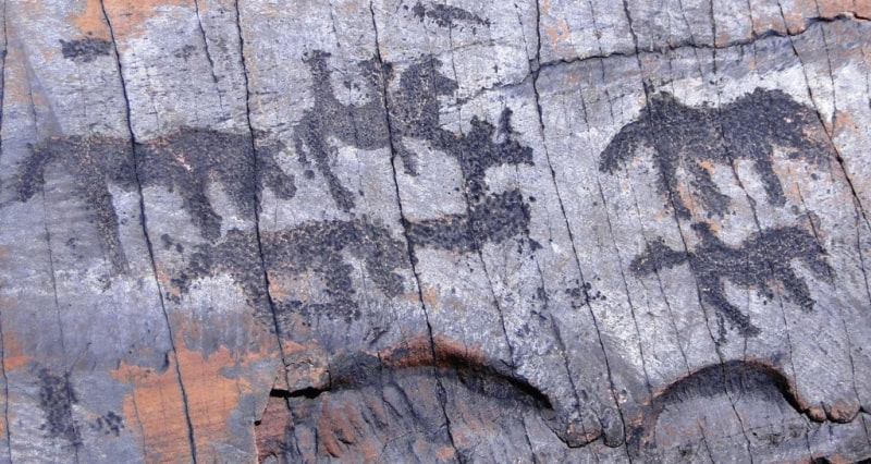 The rock paintings Baikonyr.