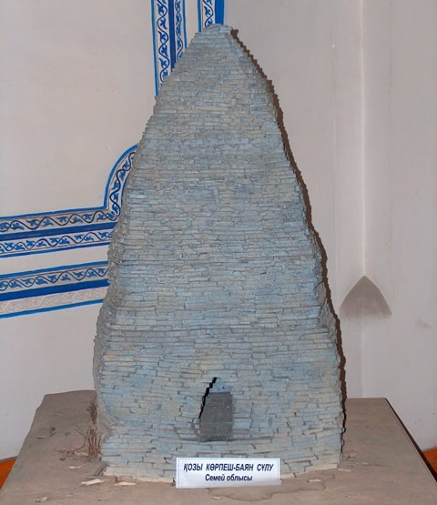 The Breadboard model of the mausoleum in a museum at a mosque in Zharkent.