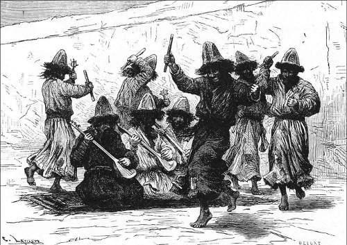 «Дервиши-музыканты в Кашгаре». Рис. Делоръ, грав.  Лаплантъ.