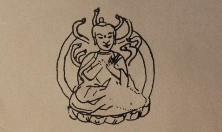 Наскальные изображения Тамгалытас на берегу р. Или. Изображение буды Шакья-Муни. Акварель. 1856 год.