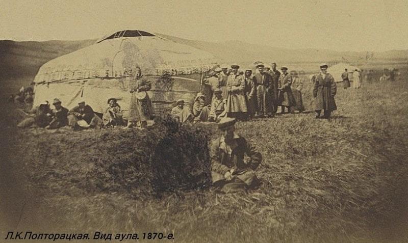 Вид аула. Алтай. Фотография Лидии Полторацкой. 1870 год.