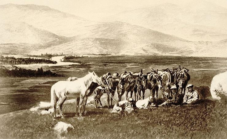 Привал в горах. Алтай. Фотография Лидии Полторацкой. 1870 год
