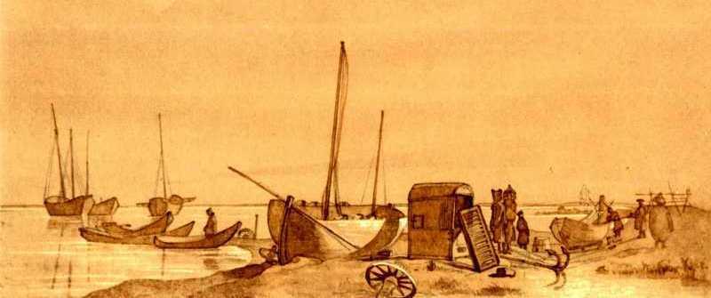 Т.Г.Шевченко. Снаряжение шхун. Тонированная бумага, сепия.. Раим. 19.VI – 25.VII 1848.