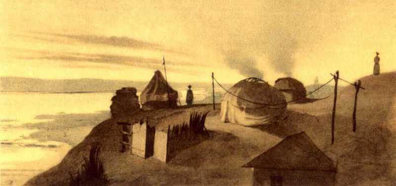 Т.Г.Шевченко. Урочище Раим с запада. Бумага, акварель. 19.VI – 25. VII 1848.