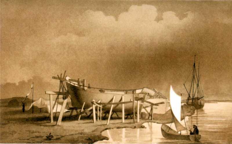 Т.Г.Шевченко. Шхуны «Константин» и «Николай». Бумага, сепия, белила. Раим. 20 – 25.VII 1848.