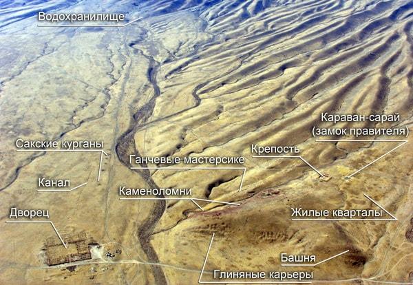 Схема городища Акыртас.