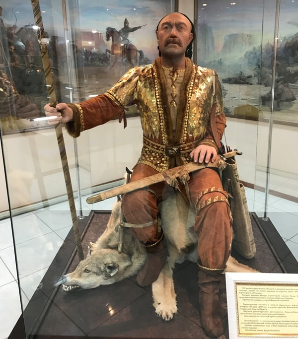 Reconstruction of a suit and weapon of the Sarmatian leader whose remains are found in 1999 in Araltobe Zhalyoyskiy Atyrayskoy's barrow of area. 2nd century BC. Scientific reconstruction: head of the West Kazakhstan expedition Zaynolla Samashev. Performer: restorer Kyry Altynbekov.