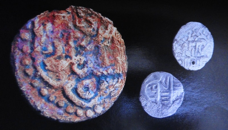 Coins found by local children at site of ancient settlement Sarayhsyk on left I protect the river Ural.