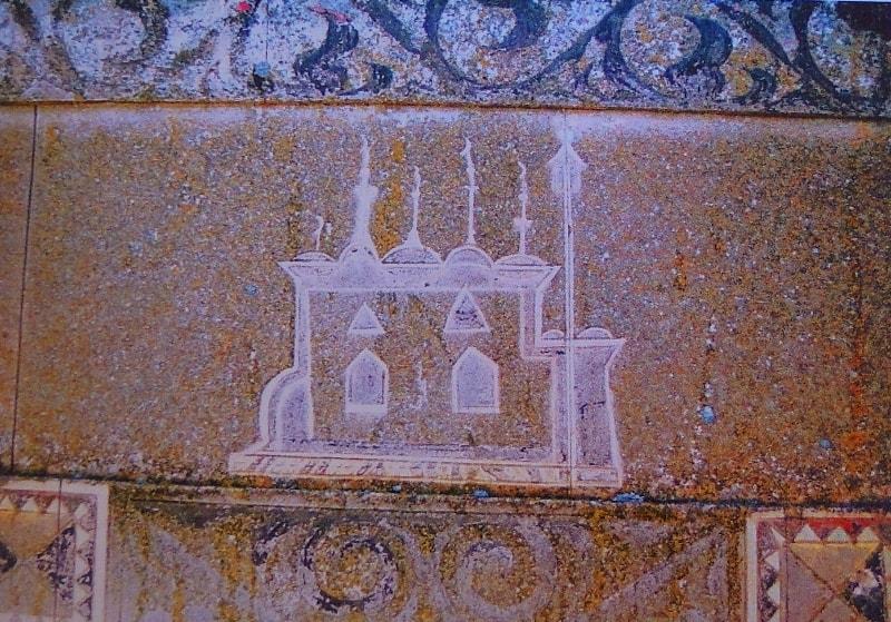 Рисунок на сандыктасты на некрополе Караман-Ата.