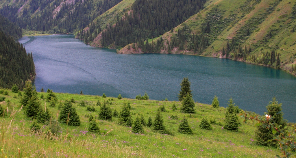 First lake Kolsai. Mountains Kungei of Ala-Tau. Almaty of province.