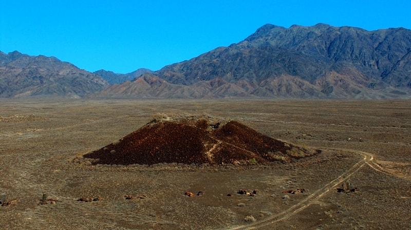 Burial mounds Besshatyr in park Altyn-Emel. Mountain ridge the Altyn-Emel. Almaty province. Southern Kazakhstan.
