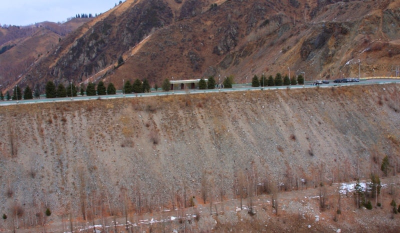 Infrastructure for prevention of mudflows in the neighborhood of Almaty.