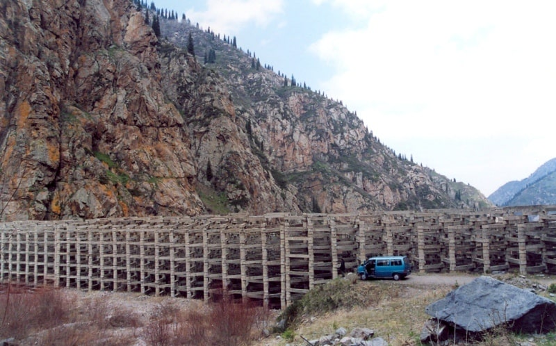 Infrastructure for prevention of mudflows in the Issyk gorge.
