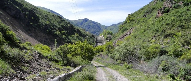 Infrastructure for prevention of mudflows in the neighborhood in Uzun-Kargaly gorge.